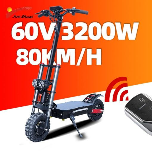 60V Electric Scooter 11inch Dual Motor E Scooter 3200W Off Road Scooter 80km/h Double Drive High Speed Scooter Long Skateboard 1