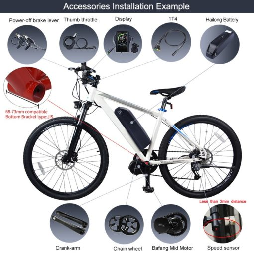 Bafang 8Fun BBS01B 36V 350W Electric Bicycle DIY Conversion Kit Mid Drive Motor with 17.4Ah Battery Built in Samsung Cells 5